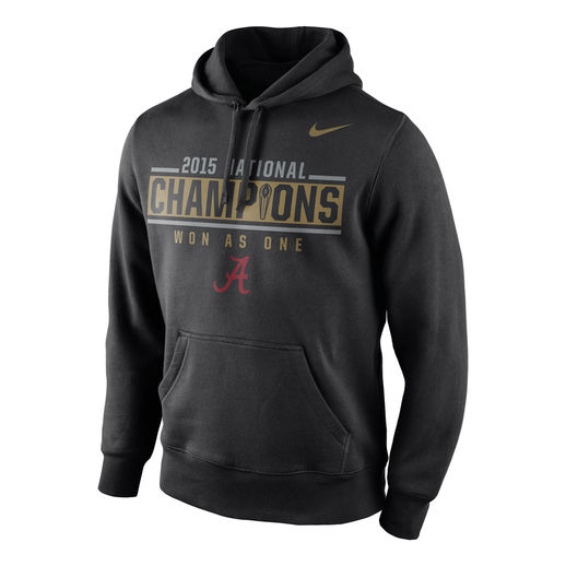 NIKE ALABAMA CRIMSON TIDE BLACK COLLEGE FOOTBALL PLAYOFF 2015 NATIONAL CHAMPIONS LOCKER ROOM PULLOVER HOODIE