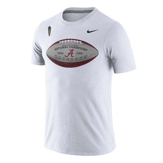NIKE ALABAMA CRIMSON TIDE WHITE COLLEGE FOOTBALL PLAYOFF 2015 NATIONAL CHAMPIONS FOOTBALL T-SHIRT