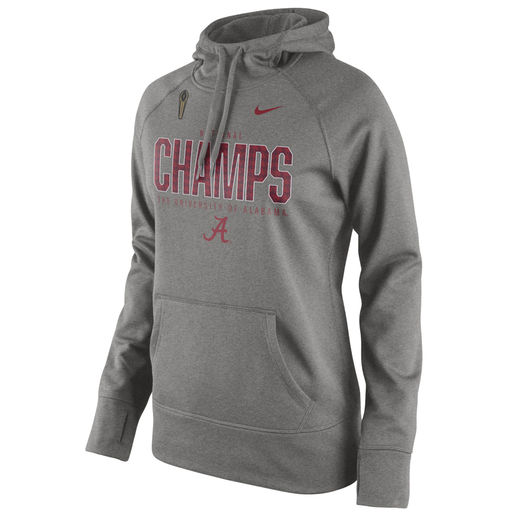 NIKE ALABAMA CRIMSON TIDE WOMEN'S GRAY COLLEGE FOOTBALL PLAYOFF 2015 NATIONAL CHAMPIONS PERFORMANCE PULLOVER HOODIE