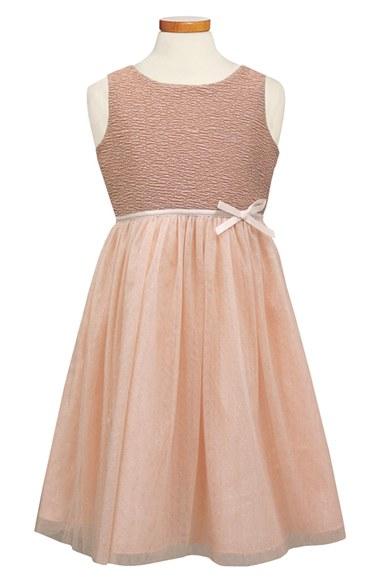 Sorbet Ribbon Rosette & Glitter Tulle Dress (Toddler Girls & Big Girls) in Peach