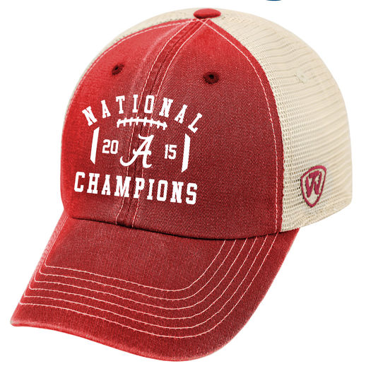 TOP OF THE WORLD ALABAMA CRIMSON TIDE CRIMSON COLLEGE FOOTBALL PLAYOFF 2015 NATIONAL CHAMPIONS TRUCKER ADJUSTABLE HAT
