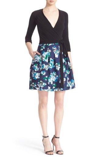 Diane von Furstenberg 'Jewel' Print Wrap Dress Black Floating Flowers