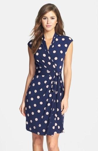 Eliza J Polka Dot Jersey Faux Wrap Dress (Regular & Petite) Navy Blue wrap dresses for easter 2016