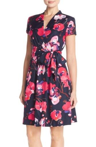 Ellen Tracy Floral Print Twill Faux Wrap Dress Navy Multi