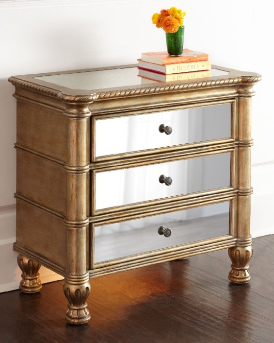 must have mirrored nightstands to glam