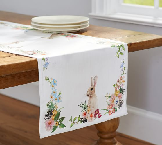 Pottery Barn FLORAL BUNNY RUNNER