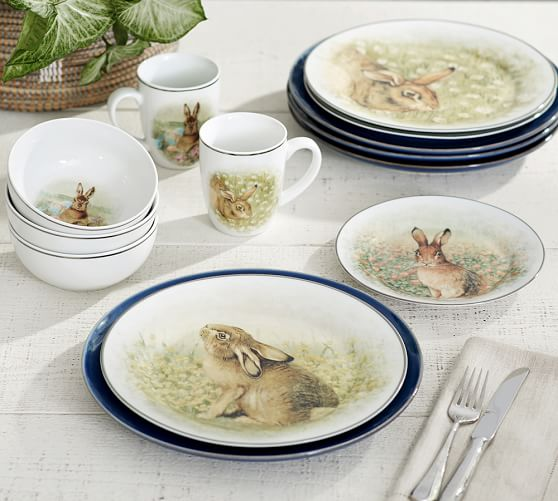 Pottery Barn MEADOW BUNNY DINNERWARE, MIXED SET OF 4