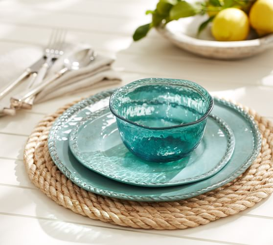Pottery Barn ROPE OUTDOOR DINNERWARE, TURQUOISE