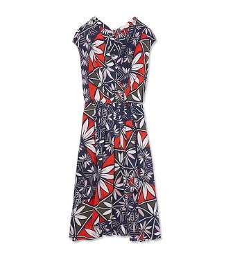 Tory Burch Silk Print Wrap Dress Tory Navy