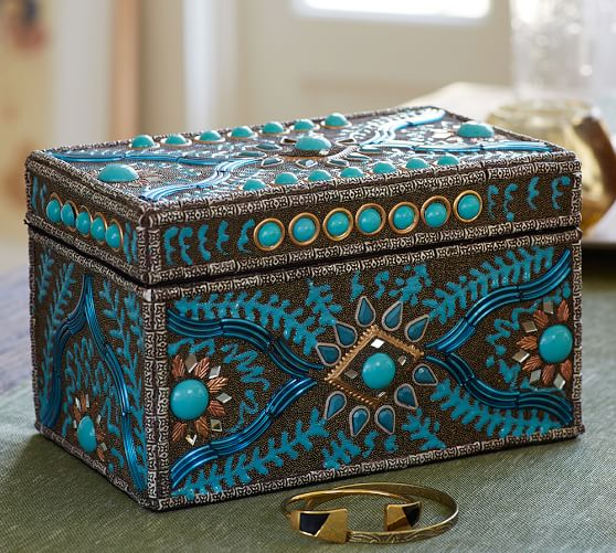 Pottery Barn Embellished Turquoise Jewel Box Pottery Barn Friends and Family Sale