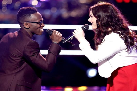 """Watch The Voice Season 10 Episode 8 The Battles Round 3: See Abby Celso vs. Brian Nhira (of Team Pharrell, advisor Sean """"P.Diddy"""" Combs) perform Maroon 5's hit song """"Sugar"""" on Monday, March 21st during the battle rounds!"""