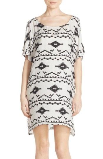 BB Dakota 'Melody' Geo Print Split Sleeve Shift Dress Oatmeal trapeze dresses for easter