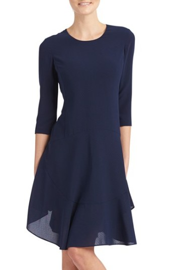 Donna Morgan Crepe Fit & Flare Dress Midnight Blue trapeze dresses for easter