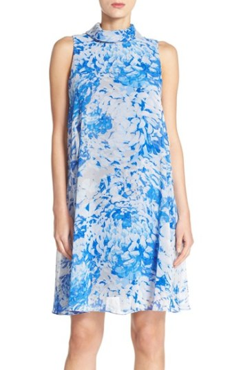 Eliza J Mock Neck Chiffon Trapeze Dress Royal Blue trapeze dresses for easter