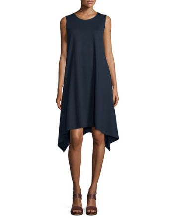 Lafayette 148 New York Draped Tank Dress Ink Blue trapeze dresses for easter