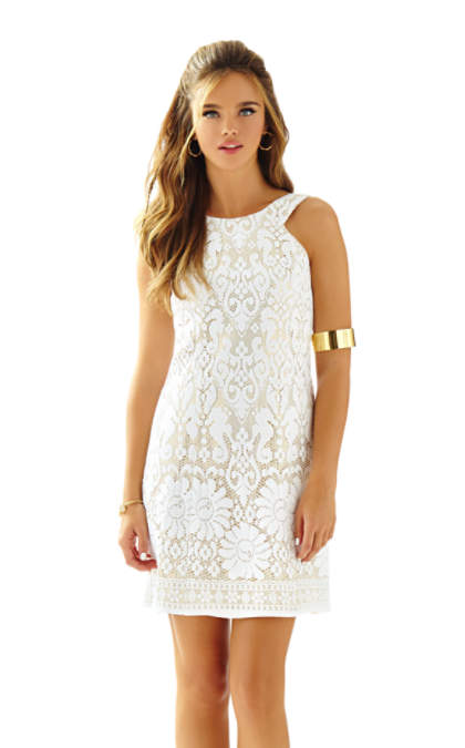 Lilly Pulitzer LARGO CUT-IN LACE SHIFT DRESS Resort White Engineered Seahorse Lace