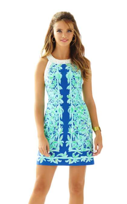Lilly Pulitzer LEA SHIFT DRESS Poolside Blue Koala Of The Wild Engineered Shift