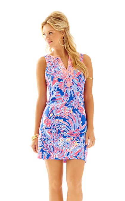 Lilly Pulitzer LYSSA NOTCH NECK SHIFT DRESS Iris Blue Shrimply Chic