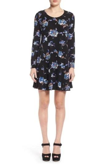 Lush 'Lauren' Long Sleeve Shift Dress Black Floral