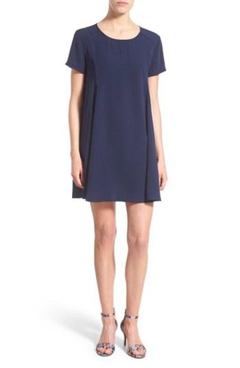 Lush Short Sleeve Swing Dress Navy Blue trapeze dresses for easter