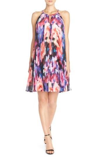 Maggy London Pleat Chiffon Floral Print Trapeze Dress Soft White/Red