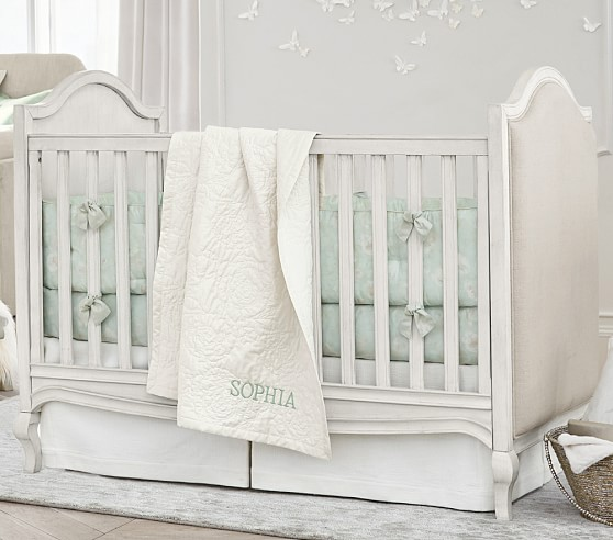 Monique Lhuillier Remy Upholstered Crib Powder White Pottery Barn Kids