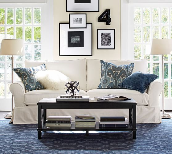Pottery Barn CASSIE COFFEE TABLE White Black Finish pottery barn sale