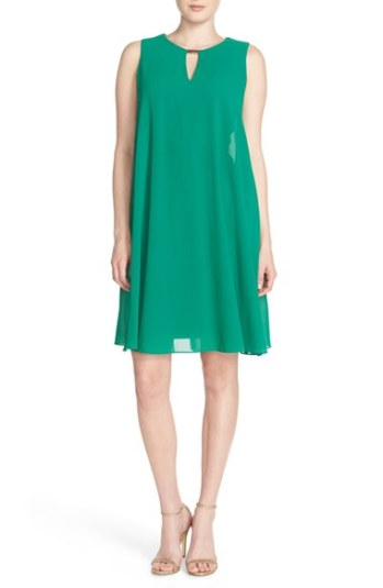 Vince Camuto Keyhole Trapeze Dress Emerald Green trapeze dresses for easter
