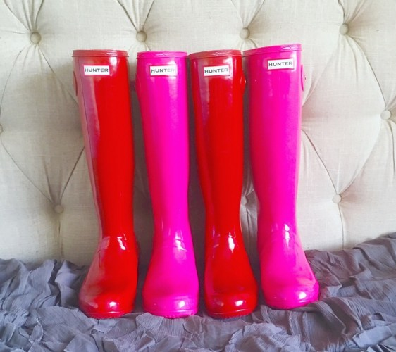 In love with my pretty Hunter boots in military red and bright cerise. As seen on Instagram.