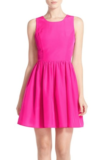 A by Amanda 'Emmie' Cutout Back Fit & Flare Dress Hot Pink