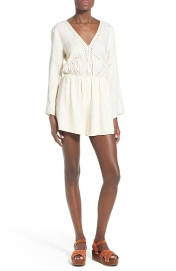 ASTR Embroidered Bell Sleeve Romper Cream