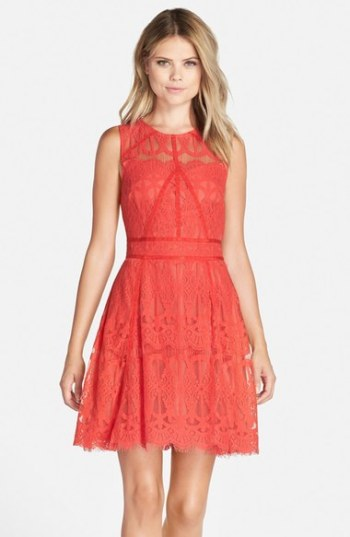 Adelyn Rae Sleeveless Lace Fit & Flare Dress Bright Coral fit and flare dresses kentucky derby party