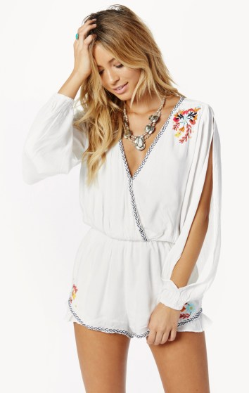 Adriana Embroidered Romper Ivory