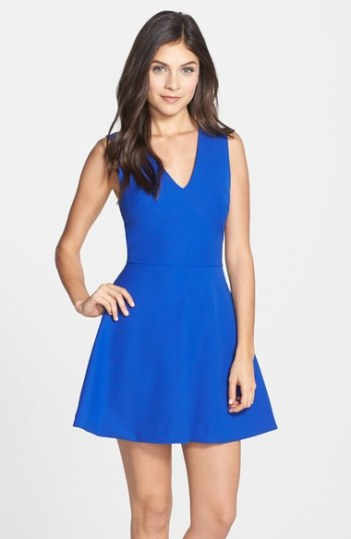 FELICITY & COCO Back Cutout Fit & Flare Dress (Regular & Petite)(Nordstrom Exclusive) Cobalt Blue
