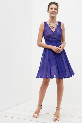 HD in Paris Flared Clipdot Dress Blue fit and flare dresses kentucky derby dresses