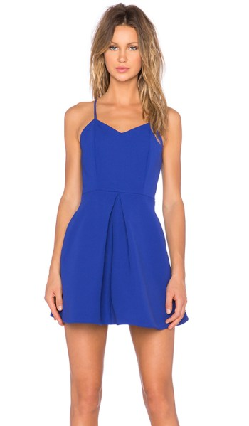 KEEPSAKE TWISTED FICTION MINI DRESS COBALT BLUE fit and flare dresses kentucky derby