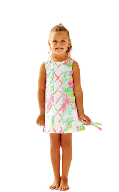 Lilly Pulitzer GIRLS LITTLE LILLY CLASSIC SHIFT DRESS Flamingo Pink Don't Give A Cluck Mother Daughter Matching Outfit
