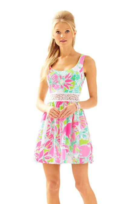 Lilly Pulitzer ROSEMARIE PRINTED SCOOP NECK DRESS Flamingo Pink Don't Give A Cluck Mother Daughter Matching Outfit