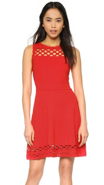 Milly Chain Link Flare Dress Red