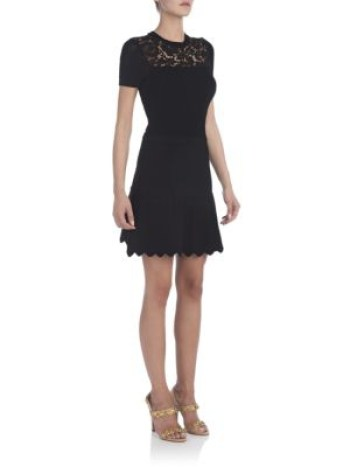 Valentino Lace-Top Fit-And-Flare Dress Black kentucky derby dresses