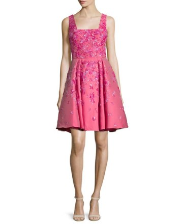 Zuhair Murad Sleeveless Floral-Embellished Dress Rose Red fit and flare dresses kentucky derby party