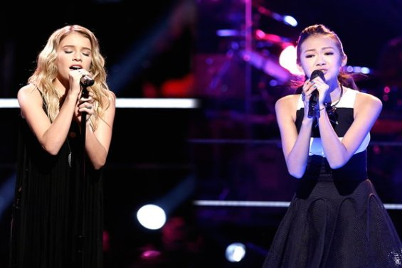 """The Voice Season 10 Episode 12 The Knockouts Night Three: Caroline Burns vs. Katherine Ho. Catherine wins her way into the live shows on Team Adam, performing """"Human"""" by Christina Perri."""