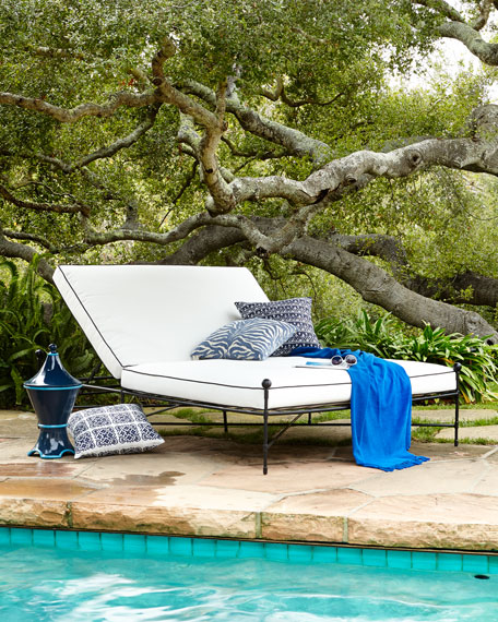 Avery Neoclassical Outdoor Double Chaise White/Black Horchow Friends and Family Sale