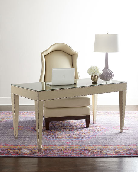 Hillary Writing Desk Wood Light Taupe Nailhead Trim Horchow friends and family sale