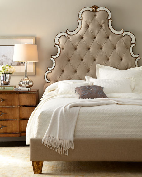 Hooker Furniture Bristol Tufted Upholstered Queen Bed Mirrored Trim Horchow Friends and Family Sale