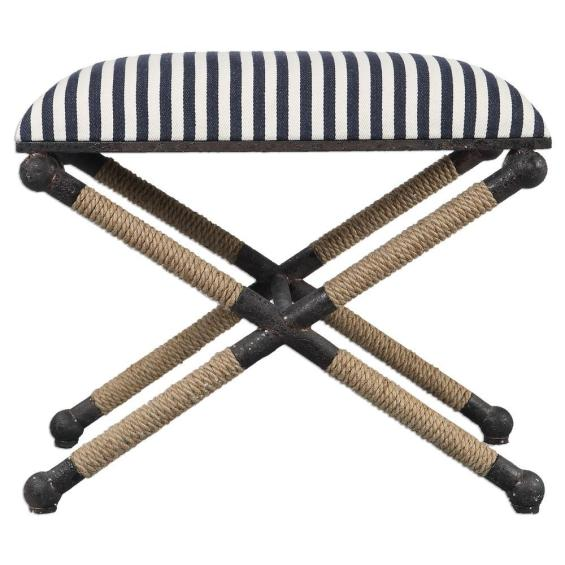 Nautical Striped Bench Fiber Rope Accents Chairish