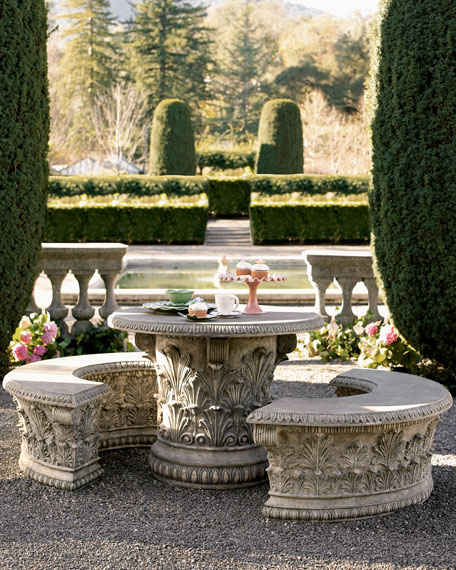 Roman Garden Table Aged Granite Horchow Friends and Family Sale