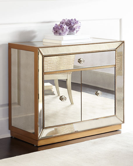 Shilo Golden Beaded Bar Cabinet Mirror Horchow friends and family sale