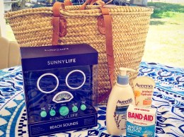 I LOVE the fun straw tote bag, Sunnylife Beach Sounds speakers/radio in blue, Vagabond round beach towel Aveeno Active Naturals Protect + Hydrate Broad Spectrum Lotion SPF 50, Aveeno Daily Moisturizing Lotion and trusty Band-Aid waterproof bandaids I was sent a few days ago in time for the 4th of July and summer beach getaway.