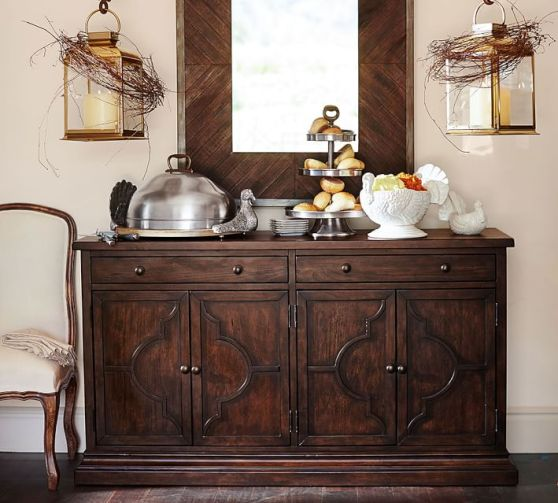 Pottery Barn Lorraine Buffet Rustic Brown Finish pottery barn dining furniture sale